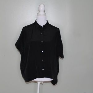 everlane women black square silk shirt SZ 8